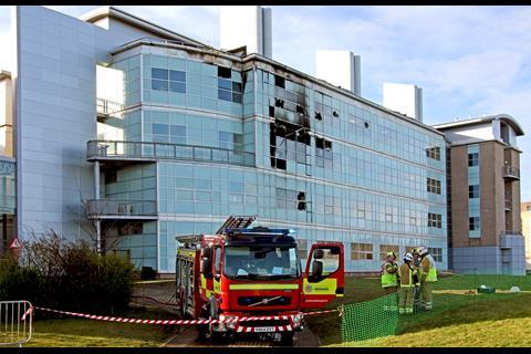 A picture showing fire engines outside the Biomedical Sciences Building in St Andrews University